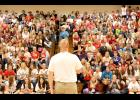 "Luverne Middle/High School Principal Ryan Johnson shows off his ""haircut"" Friday afternoon to the 650 students and staff during a school assembly. Johnson pledged if students raised at least $2,500 for hurricane relief, he would have his head shaved. Students raised $4,049."