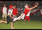 Luverne's Jake Haugen comes up inches short of making a diving pass reception during Friday's 35-20 home loss to RWV.