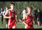 Luverne's Jonah Friedrichsen (left) and Camden Janiszeski placed among the top 10 finishers in varsity competition at the Luverne Invitational Thursday.