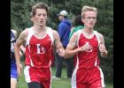Luverne's Austin Winter (left) and Shane Berning (right) placed third and fourth individually at the Luverne Cross Country Invitational Thursday. The LHS boys placed second as a team.