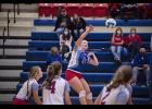 Abby Knobloch goes up for the kill during H-BC's home match against Westbrook-Walnut Grove on Monday, Oct. 19. The Patriots lost the match 3-0. Knobloch led the team with five kills.