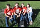 Four Luverne Public School seniors appear in the Polished Stone Project video and will present stones to fourth- through eighth-graders at upcoming assemblies. Pictured (from left) are Knute Oldre, Logan Stratton, Bergin Flom and Hailey Franken.