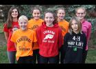 The Luverne girls cross country team won the Small School Division of the Big South Conference Cross Country Championships in Waseca Oct. 20. Team members include (front row, from left) Regan Feit, Madison Schandelmeier, Cassie Flanagan, (back) Gabrielle Ferrell, Madison Residorfer, Autumn Nath and Claire Baustian. Schandelmeier, Feit and Ferrell also made the all-league team, while Flanagan, Nath and Reisdorfer received honorable mention honors.