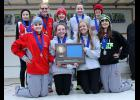 The Luverne girls captured their first team title in school history at the Section 3A Cross Country Championships in Madison Thursday. Team members include (front row, from left) Madison Reisdorfer, Madison Schandelmeier, Zayna Hustoft, Gabrielle Ferrell, (back), Cassie Flanagan, Claire Baustian, Regan Feit, Autumn Nath and Tianna Doppenberg.