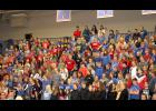 """H-BC students in kindergarten through 12th grade sing """"Americans, We"""" at the Veterans Day program at the H-BC High School."""