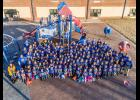 A drone photo of the 152 kindergarten through fifth-grade students and 19 staff members in special blue T-shirts was taken Friday, culminating the week of celebrations for the school's recognition as a National Blue Ribbon School by the U.S. Department of Education.