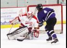 Luverne goalie Cheyenne Schutz makes a save during Tuesday's home game against New Ulm.