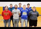 Adrian's Ryan Wieneke (back, middle) and Landon Rogers (front, second left) made the 2017 All-Southwest District Eastern Division Football Team. Nick Harder (front, left) and Lance Luettel (back, right) received honorable mention. Skylar Polzine (back, left), Dakota John (front, second right) and Tucker Wieneke (front, right) made the District's All-Academic Team.