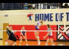 Abby Knobloch, pictured here going up for a kill, was named to the Red Rock all-conference team for the Hills-Beaver Creek Patriots.