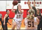 Ellsworth senior Megan Popkes tossed in 16 points and collected 10 rebounds during Friday's 75-43 loss in Edgerton.