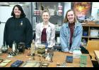Katlyn Petronek (left), Rylee Gee and Genna Rolfs completed their fall art coursework with Jerry Deuschle for fall semester. The three Luverne High School juniors showed off their work at an informal reception Friday night at Deuschle Studio north of Luverne.