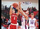 Luverne's Brayden Jacobsma wins a battle for a rebound with H-BC's Bailey Susie during Thursday's basketball game in Luverne.